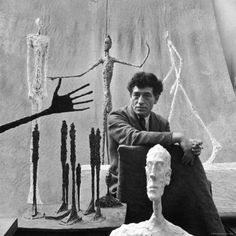 Portrait of Alberto Giacometti surrounded by his sculptures / by Gordon Parks © Gordon Parks