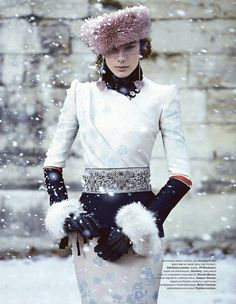 """fringefashion: """"In the middle of a heatwave, winter is coming… Armani dress & Gaspar Gloves (Russian magazine Tatler 2011) """""""