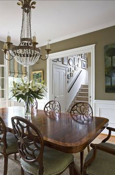 Love this soothing dinning room and furniture!