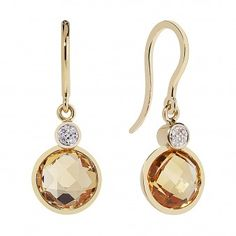 Briolette Citrine & Diamond Earrings