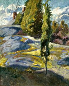 ☼ Painterly Landscape Escape ☼ landscape painting by Pekka Halonen | Halosenniemi, 1908