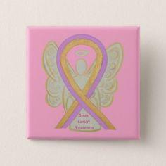 Breast Cancer Angel Pink Awareness Ribbon Pins