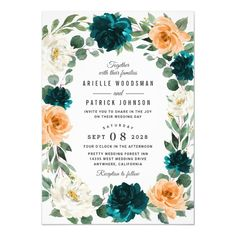 Shop Orange Teal Turquoise Blue Elegant Floral Wedding Invitation created by RusticWeddings. Personalize it with photos & text or purchase as is! Outdoor Wedding Invitations, Orange Wedding Invitations, Wedding Menu, Wedding Invitation Cards, Bridal Shower Invitations, Wedding Ideas, Wedding Stuff, Wedding Planning, Floral Invitation