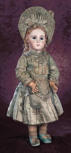 Superb French Bisque Bebe Triste by Jumeau in Original Couturier Costume and Shoes Victorian Dolls, Antique Dolls, Vintage Dolls, Half Dolls, Doll Costume, Costumes, China Dolls, Bisque Doll, Antique Clothing