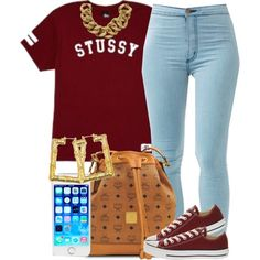 """Burgundy Stussy."" by livelifefreelyy on Polyvore"