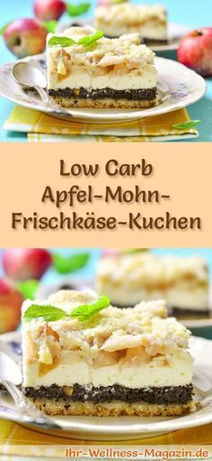 Saftiger Low Carb Apfel-Mohn-Frischkäse-Kuchen – Rezept ohne Zucker Recipe for low carb apple cream cheese cake – low in carbohydrates, low in calories, without sugar and cereal flour Healthy Low Carb Dinners, Low Carb Dinner Recipes, Low Carb Desserts, Low Carb Breakfast Casserole, Low Carb Breakfast Easy, Paleo Dessert, Cake Recipe Without Sugar, Sugar Free Low Carb Recipe, Low Carb Biscuit