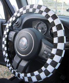 Checkered Flag Steering Wheel Cover on Etsy, $12.00