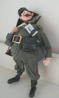 "SOLD: Vintage 9.5"" Roldan Klumpe Character Doll, Military, spain"