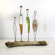Wire Sculpture. Rustic Folk Art. Mixed Media Driftwood Art. Titled: Sisterhood. via Etsy.