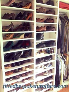 Adjustable shelving for bookcase or shoe storage in a closet wardrobe