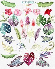 Watercolour tropical flowers and leaves clipart DIY stationary | Aquarell clipart tropische Blüten und Blätten DIY Papeterie Hochzeitseinladung