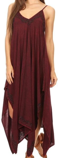 Sakkas Eleonora Stonewashed Embroidered Spaghetti Strap Handkerchief Dress