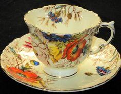 AYNSLEY ENGLAND POPPY HP TEXTURE TEA CUP AND Saucer