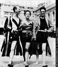 George S. Kaufman with Comedian Julius Tannen and wife Beatrice Kaufman in Atlantic City, circa 1920s.
