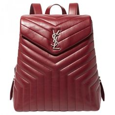 Leather backpack SAINT LAURENT ($1,650) ❤ liked on Polyvore featuring bags, backpacks, burgundy bag, red leather bag, burgundy leather bag, red backpack and leather daypack
