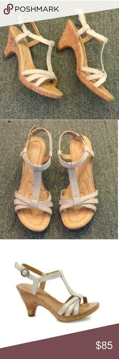 """BORN CROWN Myndy suede T-strap sandal NWOB,1/2inch platform,HEEL 3.25"""", gorgeous Ivory suede heels with cork rubber soles stitched leather foot bed. Born crown Shoes Heels"""