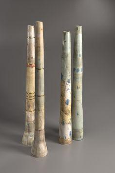 Petra Bittl Ceramics, group of bottles, wheel-thrown, stoneware, slips, gold and salt