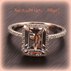2.1ct Emerald Cut Morganite Engagement Ring in a 14k Rose Gold Diamond Single Halo setting