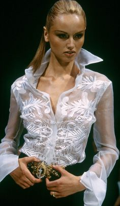 White on white sheer top with embroidery