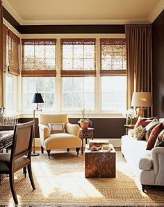 Get into neutral territory with chocolate brown walls, beige draperies and richly textured woven wood shades. Get the look with M bamboo Bay Woven Wood Shades Small Space Living Room, Small Spaces, Living Spaces, Style At Home, Woven Wood Shades, Bamboo Shades, Wood Blinds, Bamboo Blinds, Blinds Curtains