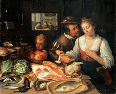 """Kitchen scene"" 1613, by Jeremias van Winghe (1578-1645). Currently at the Historisches Museum in Frankfurt, Germany."