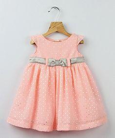Peach & Silver Foil Polka Dot Bow Dress - Infant, Toddler & Girls