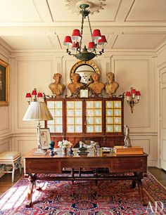 Timothy Corrigan's Los Angeles Home : Architectural Digest, red lamp shades, layered look, busts, eclectic