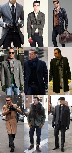 A Selection of Mens Hats, Scarves, Coats, Boots, Gloves, and Bags. Men's Fall/Winter Street Style Fashion.