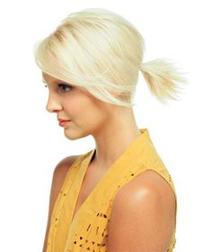 """Ponytail For Short Hair - """"The Spout""""  To do: Blow-dry hair straight, mist with setting spray to give the style hold, slide in an elastic, then work a dab of gel through the ends of the ponytail for texture. For a bit more polish, blow out the loose bits in front and sweep them to the side. Spray in place."""