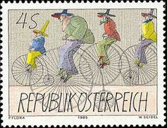 Get your hands on a customizable Austria postcard from Zazzle. Find a large selection of sizes and shapes for your postcard needs! Paul Flora, Bicycle Art, Penny Black, Mail Art, Stamp Collecting, Vintage Postcards, Postage Stamps, Artsy, Souvenir