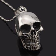 Black Stainless Steel Skull Pendants Necklaces