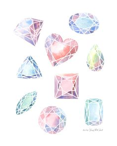 Gemstones Art Print of Watercolor Painting - 8x10 or 11x14 inches