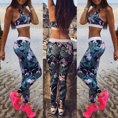 Women Fashion Floral Printed Cropped Suit Sets