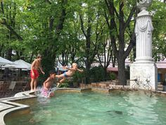 Swim in a fountain or down the Rhine. Best one is at Munsterplatz Basel, Fountain, Swimming Pools, Places, Outdoor Decor, Kids, Swiming Pool, Young Children, Pools