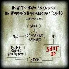 sounds harsh I know, but seriously - no vagina, no opinion. Or at least, no opinion a woman needs to hear. Women's Reproductive Rights, Reproductive System, Pro Choice, At Least, Feelings, My Love, Words, Women's Rights, Human Rights