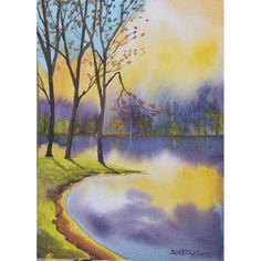 Watercolor  Landscape painting original Lake with by derekcollins, $48.00
