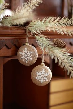 burlap christmas ornaments pictures | Burlap look snowflake ornaments | Home & Holiday