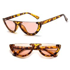 5665648dc87 Half Frame Sunglasses Womens Vintage Rimless Shades Trendy Cat Eye Sun  glasses Brand Designer Rimless Glasses Retro Eyewear
