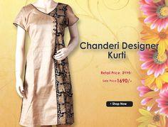 Get this Chanderi Designer Kurti at best price.... Buy at link:http://bit.ly/1YdSwZ3