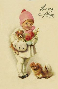 Vintage Christmas postcard with little girl and two adorable dogs Images Vintage, Vintage Christmas Images, Old Christmas, Old Fashioned Christmas, Victorian Christmas, Retro Christmas, Vintage Holiday, Christmas Pictures, French Christmas