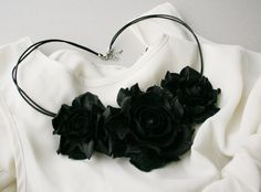 Black leather floral bib necklace  Made to Order by leasstudio, $60.00