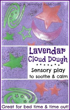 Calming Lavender cloud dough- sensory play to help sooth and calm little ones before bed or during frustrating or tough times of the day.