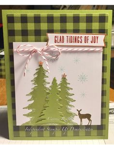 October 2017 Pining for Plaid Christmas Canvas, Stampin Up Christmas, Christmas Cards To Make, Merry Little Christmas, Christmas Photo Cards, Holiday Cards, Paint Chip Cards, Stampin Up Paper Pumpkin, Pumpkin Cards