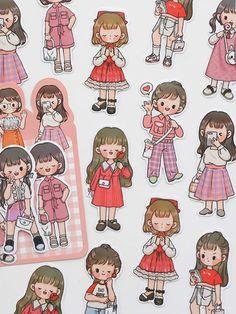 Cute Cartoon Drawings, Cartoon Girl Drawing, Art Drawings For Kids, Girl Cartoon, Kawaii Chibi, Cute Chibi, Kawaii Anime Girl, Anime Chibi, Cartoon Stickers