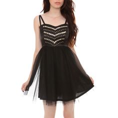 Black Stud Tulle Dress   Hot Topic ($33) ❤ liked on Polyvore featuring dresses, black, tulle cocktail dresses, layered dress, hot topic, tulle dress and double layer dress