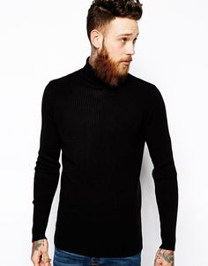 ASOS+Muscle+Fit+Ribbed+Roll+Neck+in+Black
