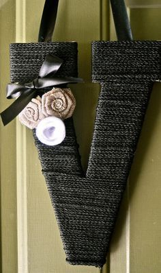 Customized Twine Monogram Wreath with handcrafted flowers and a ribbon to hang by Wreaths247 on Etsy
