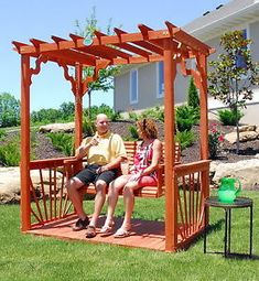 New Outdoor 7' Wooden Cedar Wood Pergola Yard Garden Porch Swing Free Standing