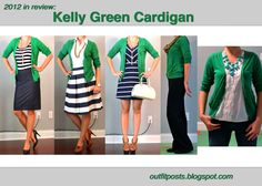 Green navy and white Cardigan stripes skirt