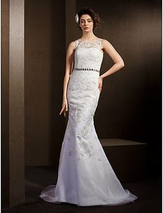 Trumpet/Mermaid+Jewel+Sweep/Brush+Train+Lace+And+Tulle+Wedding+Dress+(2174324)+–+USD+$+229.99